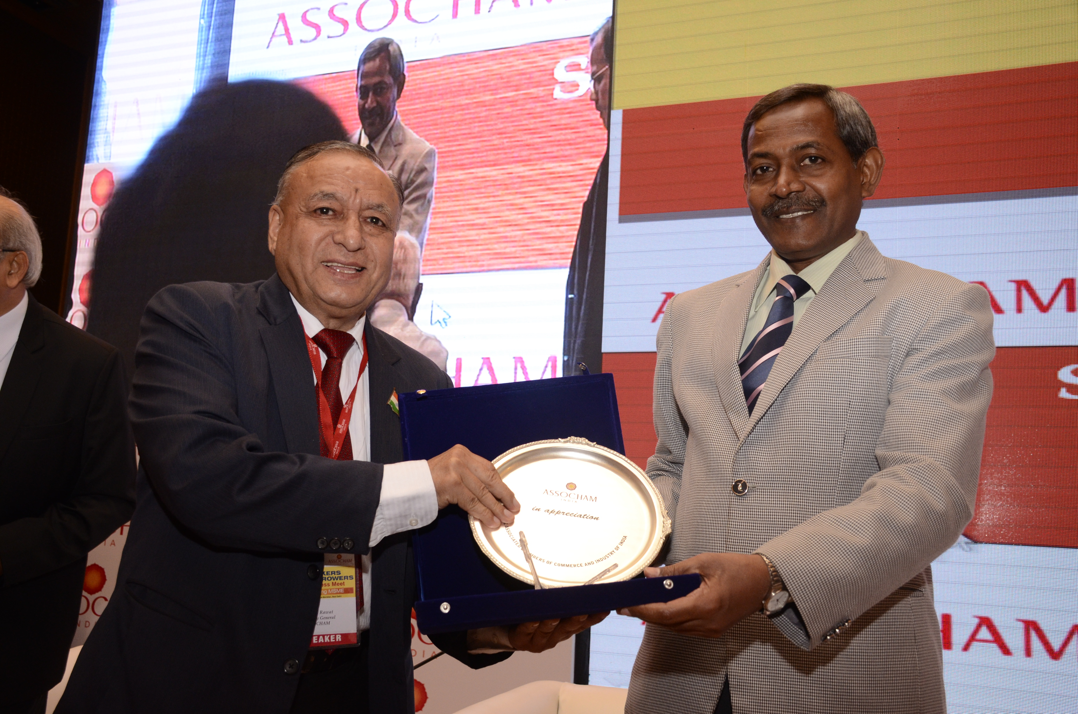 Dr Kshatrapati Shivaji Chairman SIDBI and MUDRA receiving Momento at ASSOCHAM Bankers Borrowers Business Meet