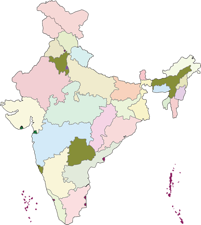 Interactive map of India states and capitals